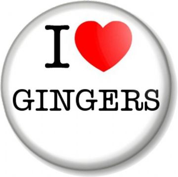 I Love / Heart GINGERS Pinback Button Badge Red Head Hair Colour Joke Funny Geek